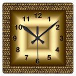 Wall Clock Metal Look Black Bronze Gold 2 Square Wall Clock