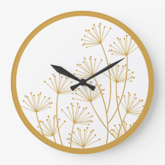 Wall Clock - Mod Dandelions in Gold