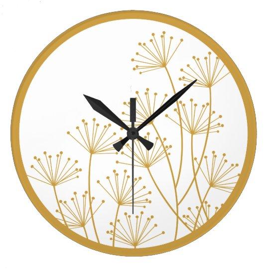 Wall Clock - Mod Dandelions in Gold