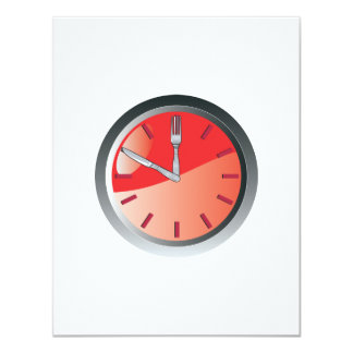 wall clock spoon and fork eating time 11 cm x 14 cm invitation card