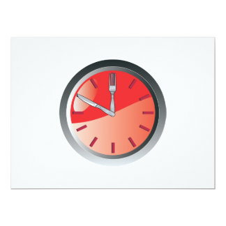 wall clock spoon and fork eating time 17 cm x 22 cm invitation card