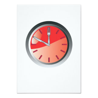 wall clock spoon and fork eating time 11 cm x 16 cm invitation card