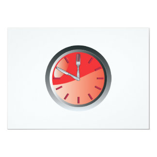 wall clock spoon and fork eating time 13 cm x 18 cm invitation card