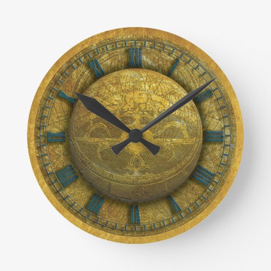 Wall Clock with Astrolab & Gold Texture