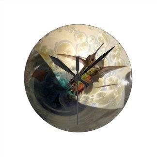 Wall clock with close up of a hummingbird