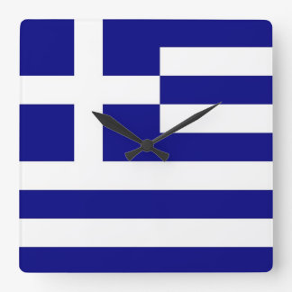 Wall Clock with Flag of Greece