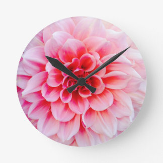 Wall clock with pink flower design