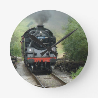 Wall Clock With Steam Train Image On The Face