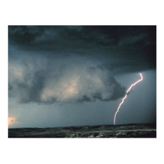 Wall cloud with lightning postcard