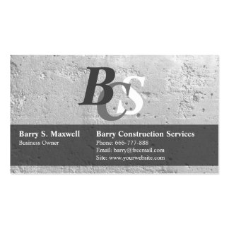 Wall Crack Stone Texture Monogram Business Cards