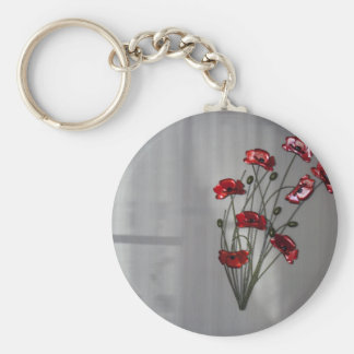 Wall flower basic round button key ring