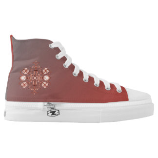 Wall Flower on Grey & Red by Aleta Printed Shoes
