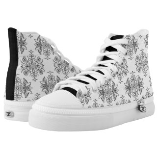 Wall Flower on White by Aleta High Tops