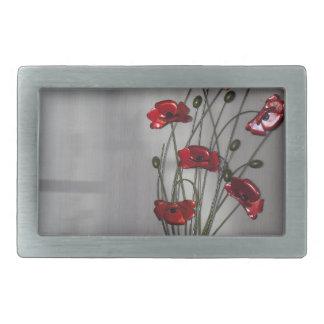 Wall flower rectangular belt buckle