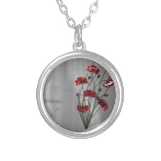 Wall flower silver plated necklace