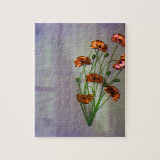 Wall flower with textured colour background jigsaw puzzle