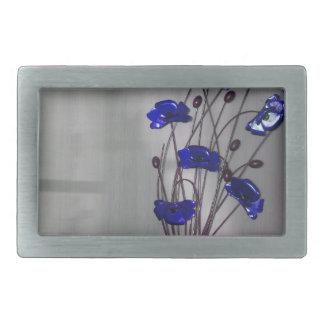 Wall flowers Blue on texture background Rectangular Belt Buckle