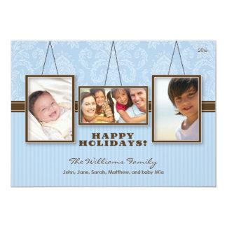 Wall Frames Custom Family Holiday Card (blue) 13 Cm X 18 Cm Invitation Card