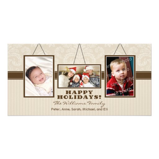 Wall Frames Family Holiday Photocard (taupe) Customized Photo Card