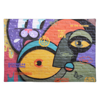 wall graffiti eyes Peace and Love message Placemat