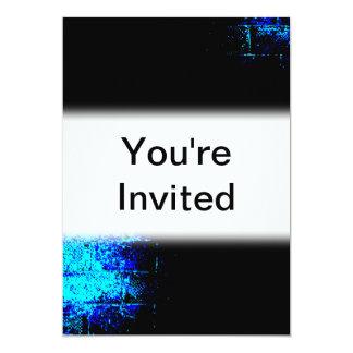 Wall Image in Blue and Black. Digital Art. 13 Cm X 18 Cm Invitation Card