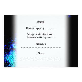 Wall Image in Blue and Black. Digital Art. 9 Cm X 13 Cm Invitation Card