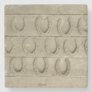Wall of Horse Shoes Stone Beverage Coaster