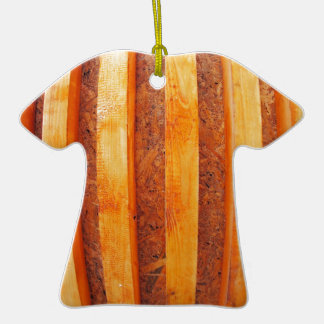 Wall of red wooden boards ceramic T-Shirt decoration