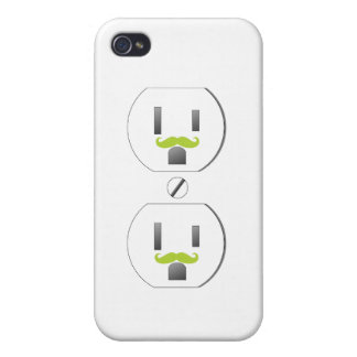 Wall Outlet w/Green Mustache Design iPhone 4/4s iPhone 4/4S Cover