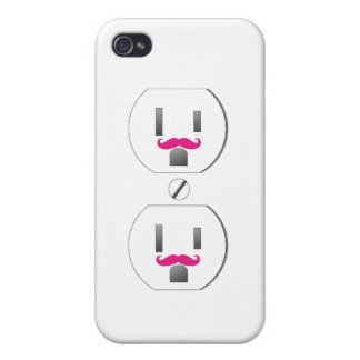Wall Outlet w/Pink Mustache Design iPhone 4/4s iPhone 4 Cover