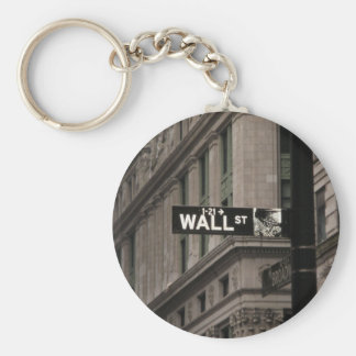 Wall St New York Basic Round Button Key Ring