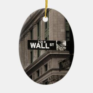 Wall St New York Ceramic Oval Decoration