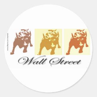 Wall Street Bull Market Round Sticker