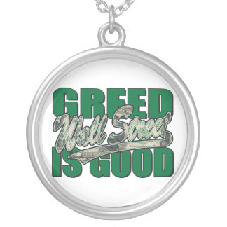 Wall Street/ Greed is Good Round Pendant Necklace