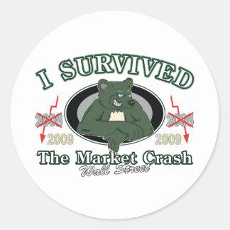 Wall-Street/I Survived the Market Crash Round Sticker