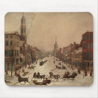 Wall Street in Winter Mouse Mat