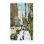 Wall Street, Looking West. New York. Postcard