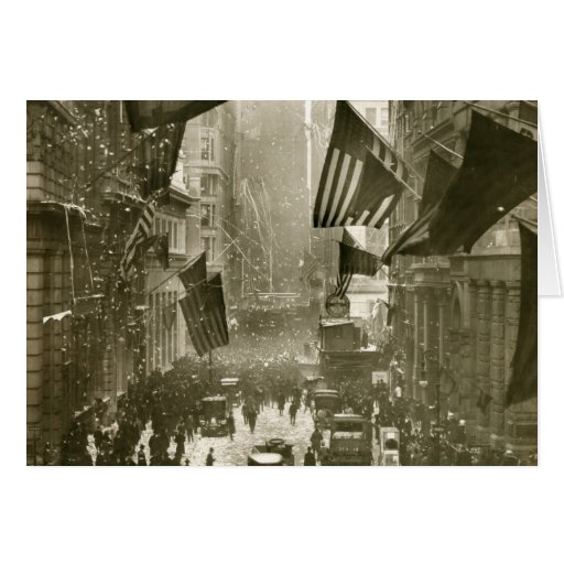 Wall Street Party, end of WW1, 1918 Greeting Card