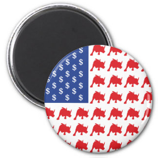 Wall Street Patriotic American Flag 6 Cm Round Magnet