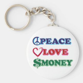 Wall Street/Peace Love Money Basic Round Button Key Ring