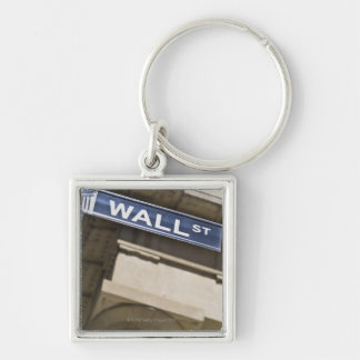 Wall Street Silver-Colored Square Key Ring