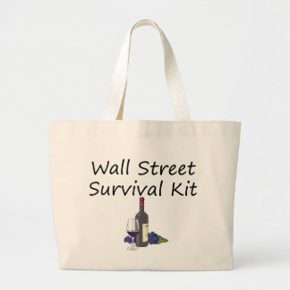 Wall Street Survival Kit Wine Bottle Glass Grapes Large Tote Bag