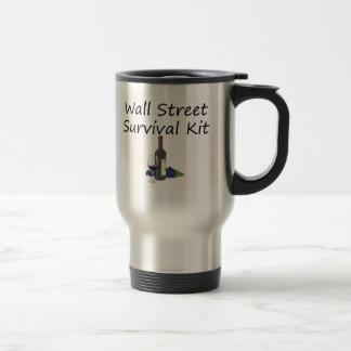 Wall Street Survival Kit Wine Bottle Glass Grapes Coffee Mug