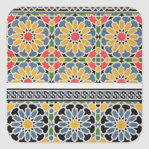 'Wall Tiles From The Mihrab Of The Mosque Of Cheykh Square Sticker