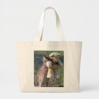 Wallaby hugging teddybear tote jumbo tote bag