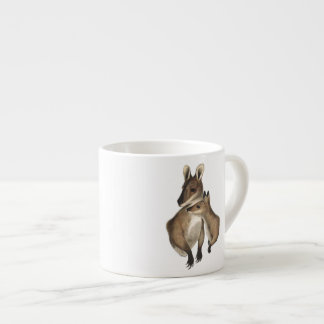 Wallaby Mother and Baby painted Espresso Mugs
