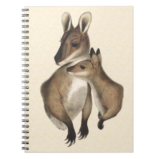 Wallaby Mother and Baby painted Spiral Note Books