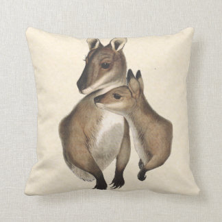 Wallaby Mother and Baby painted Throw Pillows