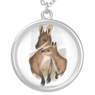 Wallaby Mother and Baby (painting) Silver Plated Necklace