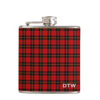Wallace Clan Tartan Red and Black Plaid Monogram Hip Flask